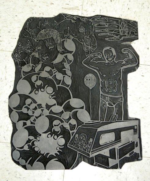 Linoblock used for Team Lump print